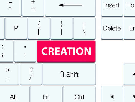 Creation isolated on pink keyboard button abstract illustration