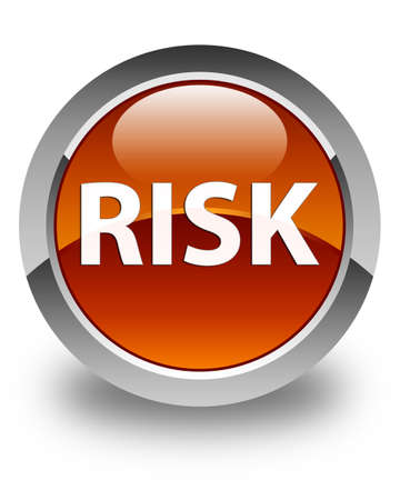Risk isolated on glossy brown round button abstract illustration Stock Photo
