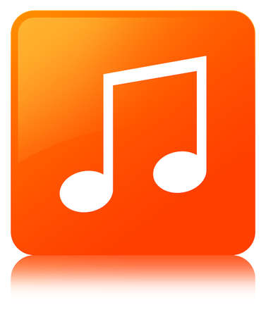 Music icon isolated on orange square button reflected abstract illustration Stock Photo