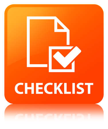 Checklist isolated on orange square button reflected abstract illustration