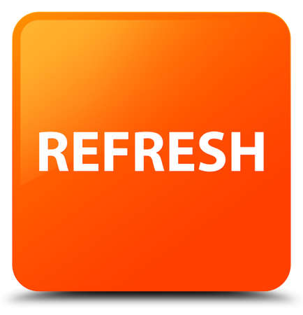 Refresh isolated on orange square button abstract illustration