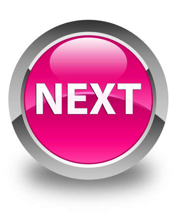 Next isolated on glossy pink round button abstract illustration Stock Photo