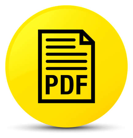 PDF document icon isolated on yellow round button abstract illustration
