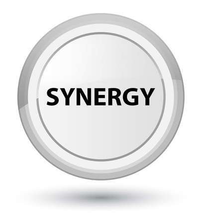 Synergie op eerste witte ronde knoop abstracte illustratie die wordt geïsoleerd