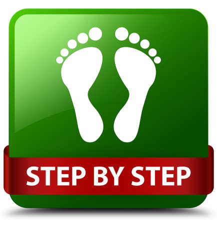 Step by step (footprint icon) isolated on green square button with red ribbon in middle abstract illustration