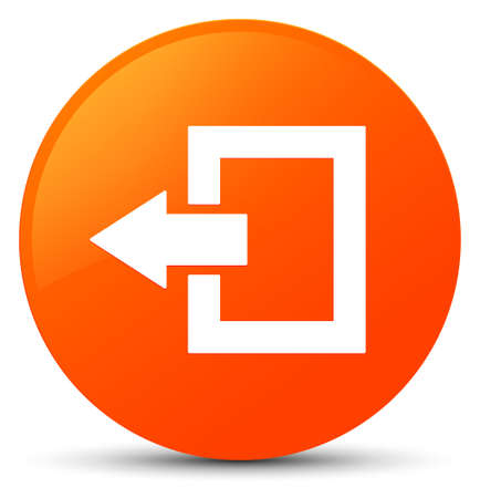 Logout icon isolated on orange round button abstract illustration Stock Photo