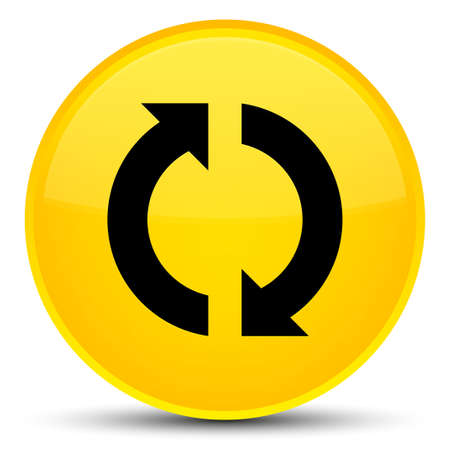 Update icon isolated on special yellow round button abstract illustration Foto de archivo