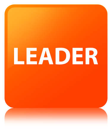 Leader isolated on orange square button reflected abstract illustration Stock Photo