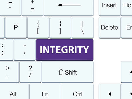 Integrity isolated on purple keyboard button abstract illustration Stock Photo