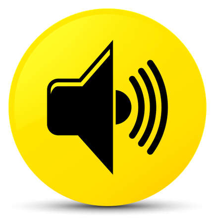 Volume icon isolated on yellow round button abstract illustration