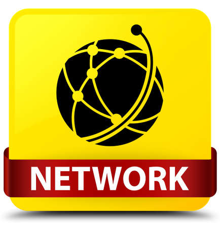 Network (global network icon) isolated on yellow square button with red ribbon in middle abstract illustration Stock Photo