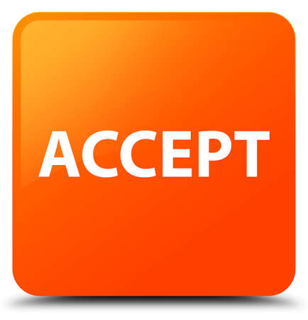 Accept isolated on orange square button abstract illustration