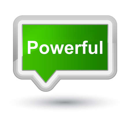 Powerful isolated on prime green banner button abstract illustration Stock Photo
