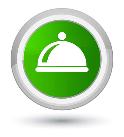 Food dish icon isolated on prime green round button abstract illustration