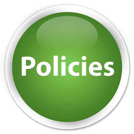 Policies isolated on premium soft green round button abstract illustration Banco de Imagens