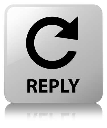 Reply (rotate arrow icon) isolated on white square button reflected abstract illustration