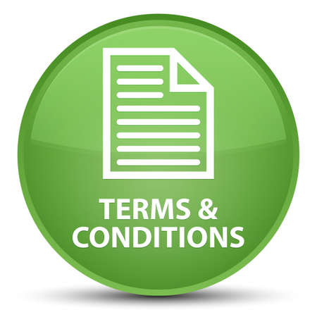 Terms and conditions (page icon) isolated on special soft green round button abstract illustration
