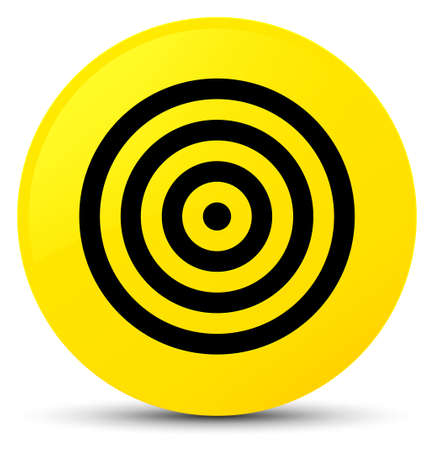 Target icon isolated on yellow round button abstract illustration Stock Photo