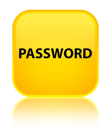 privacy: Password isolated on special yellow square button reflected abstract illustration Stock Photo