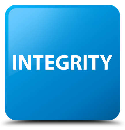 Integrity isolated on cyan blue square button abstract illustration