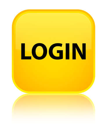 Login isolated on special yellow square button reflected abstract illustration