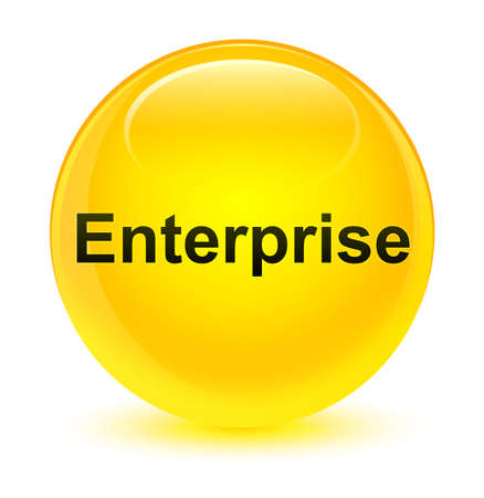 Enterprise isolated on glassy yellow round button abstract illustration