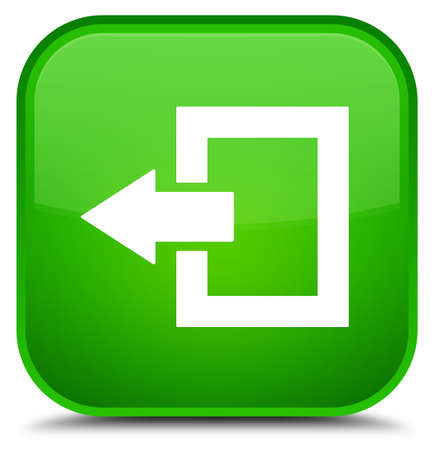 Logout icon isolated on special green square button abstract illustration