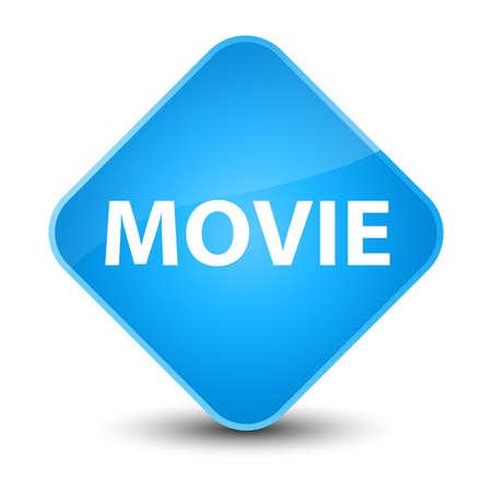 Movie isolated on elegant cyan blue diamond button abstract illustration Stock Photo
