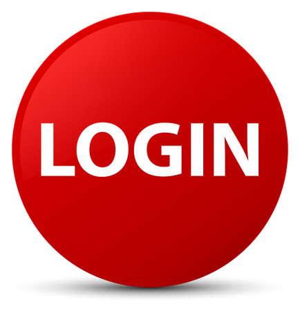 赤い丸いボタンの抽象的なイラストで隔離されたログイン
