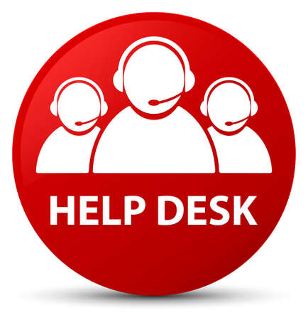 Help desk (customer care team icon) isolated on red round button abstract illustration