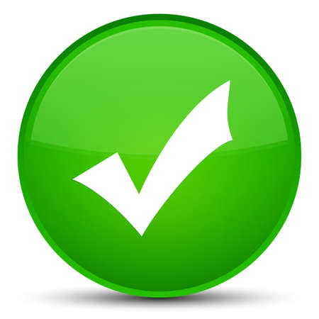 Validation icon isolated on special green round button abstract illustration Stock Photo
