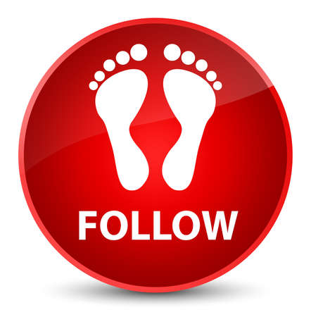 Follow (footprint icon) isolated on elegant red round button abstract illustration Stock Photo
