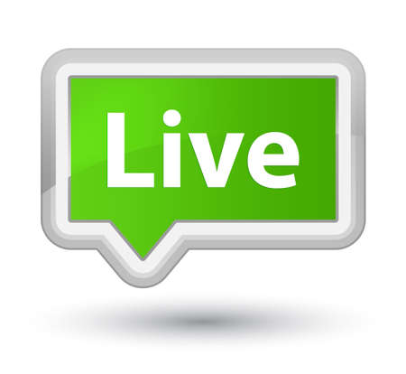 Live isolated on prime soft green banner button abstract illustration