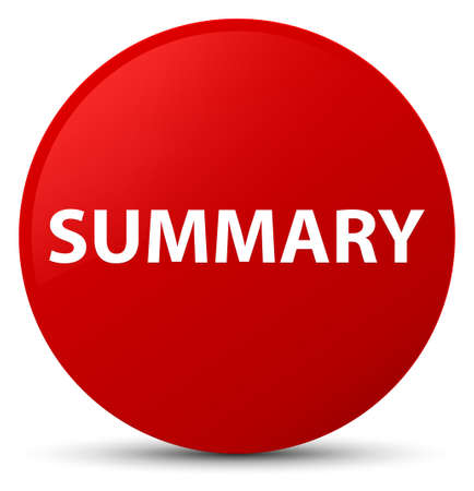 Summary isolated on red round button abstract illustration