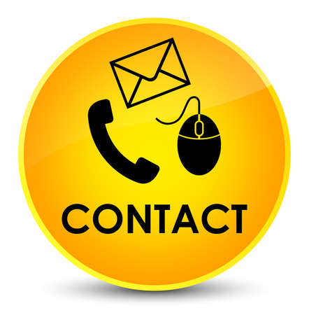 email icon: Contact (phone email and mouse icon) yellow isolated on elegant round button abstract illustration