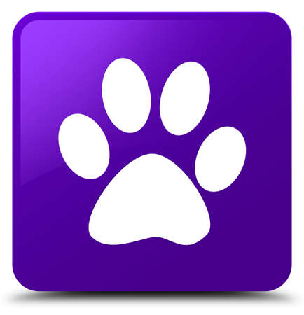 Animal footprint icon isolated on purple square button abstract illustration