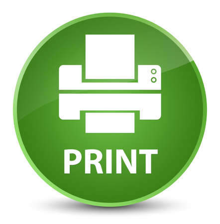 Print (printer icon) isolated on elegant soft green round button abstract illustration