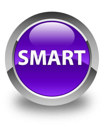 Smart isolated on glossy purple round button abstract illustration