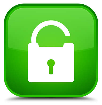 Unlock icon isolated on special green square button abstract illustration