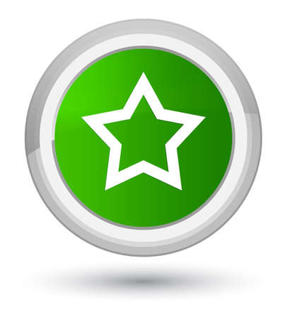 Star icon isolated on prime green round button abstract illustration