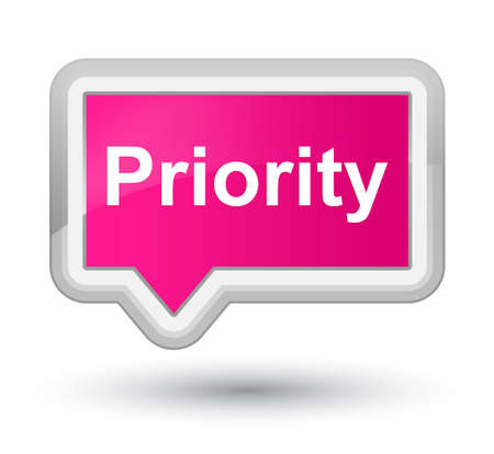 Priority isolated on prime pink banner button abstract illustration