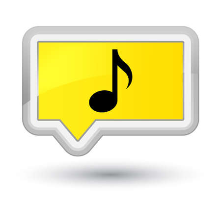 Music icon isolated on prime yellow banner button abstract illustration Stock Photo