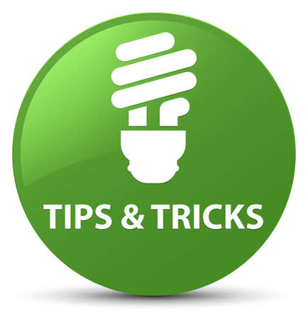 Tips and tricks (bulb icon) isolated on soft green round button abstract illustration