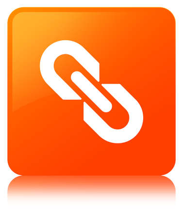 Link icon isolated on orange square button reflected abstract illustration