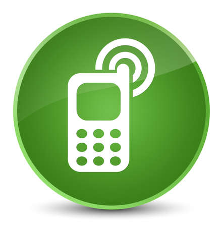 Cellphone ringing icon isolated on elegant soft green round button abstract illustration Stock Photo