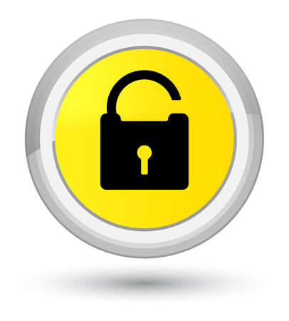 Unlock icon isolated on prime yellow round button abstract illustration
