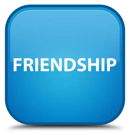Friendship isolated on special cyan blue square button abstract illustration Reklamní fotografie