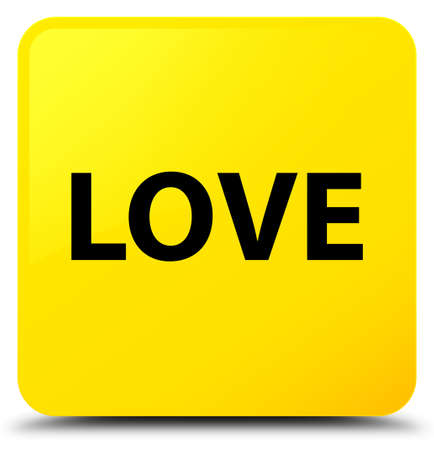 Love isolated on yellow square button abstract illustration Stock Photo