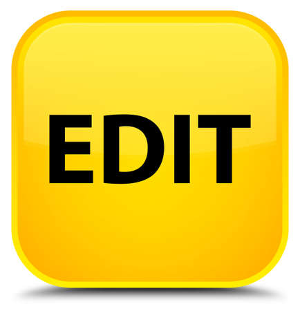 Edit isolated on special yellow square button abstract illustration Stock Photo