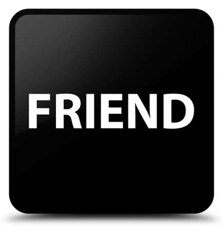 Friend isolated on black square button abstract illustration Reklamní fotografie